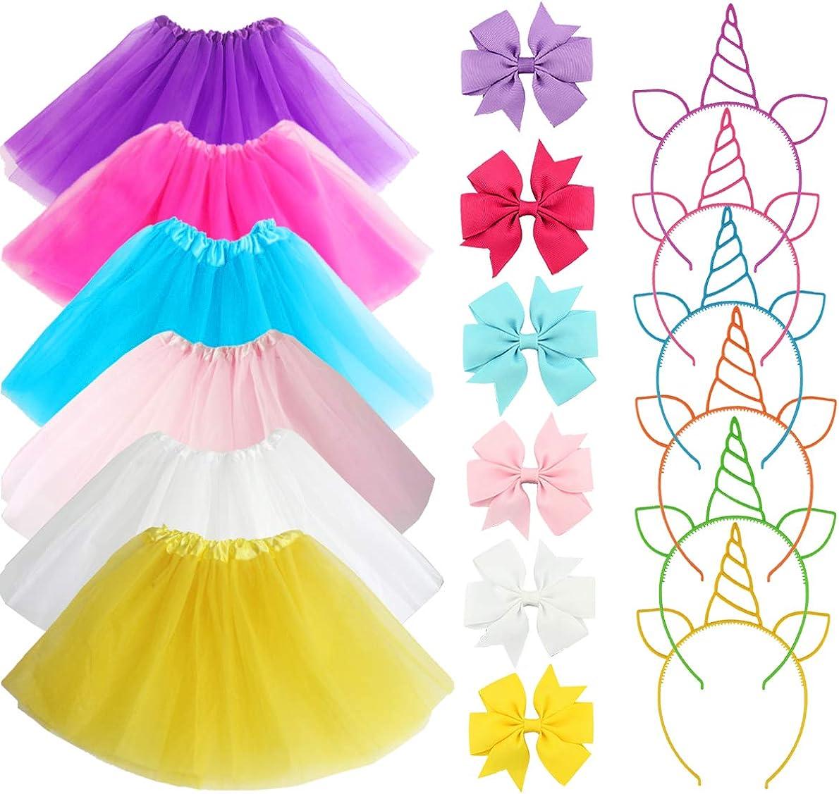 18Pcs Princess Tutus for Girls Ballet Tutu Skirts Multicolor Hair Bands Ties Unicorn Headbands Birthday Party Favor Gifts Princess Dress Up Costume 3-Layer Ballet Dance Tutus Skirts for Girls