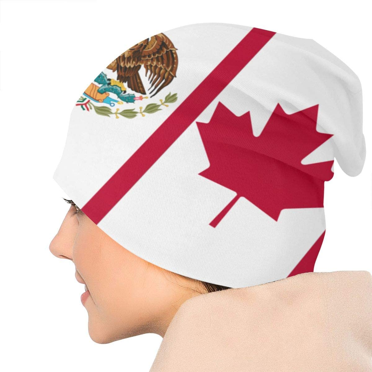 Lake-OD America Canada Mexico Flag Thin Baggy Slouchy Knit Beanie Hat Hip-hop Skull Cap for Mens and Womens