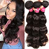 KLAIYI Hair Malaysian Body Wave Virgin Hair 3 Bundles Grade 7A Raw Virgin Human Hair Extensions Weave Natural Hair 95-100g/pc (14 16 18Inch)