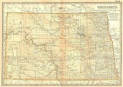 Amazon.com: NORTH DAKOTA. State map. Shows counties & Indian ...