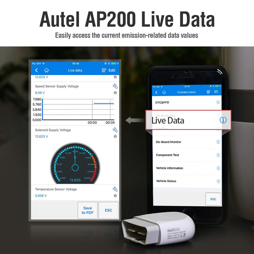 Autel AP200 Bluetooth OBD2 Scanner Code Reader with Full Systems Diagnoses and 19 Service Functions Vehicle Scan Tool for iPhone /& Android Devices Mini Size Version of MK808 Diagnostic HT200