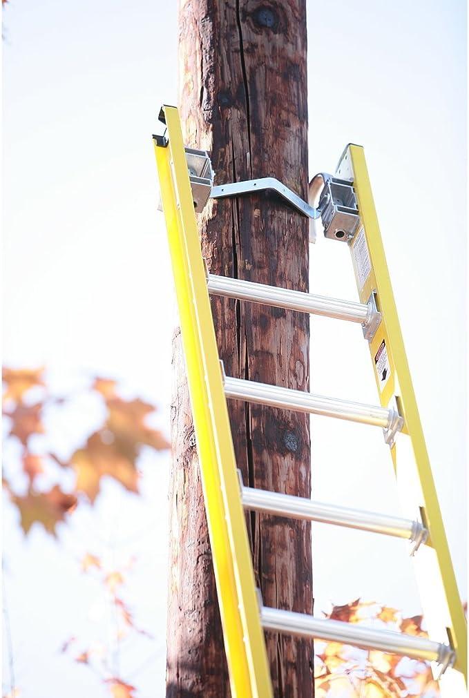 Werner d7128 – 2 28 de fibra de vidrio soporte de d-rung Linesmans extensión escalera W/acolchado v-rung y cable ganchos en la – 375lb nominal: Amazon.es: Bricolaje y herramientas