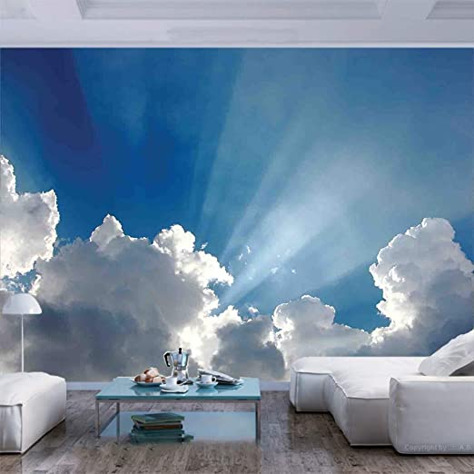 Amazon Com 77x30 Inches Wall Mural Colorful Sky With Clouds And Sun Rays Dreamy Cloudscape After Rain Picture Peel And Stick Self Adhesive Wallpaper Removable Large Wall Sticker Wall Decor For Home Office Home