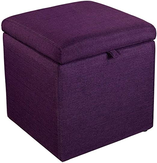 QQXX Almacenamiento Otomana Toy Box Reposapiés Tapizado Marco de Madera Sala de Estar Inicio Versátil Cubos de Ahorro de Espacio Carga máxima 150 Kg (43 X 43 X 45 cm) Púrpura-: Amazon.es: Hogar