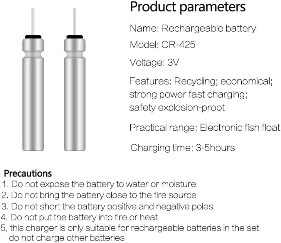 BREEZEY Fishing Float Rechargeable Battery CR425 USB Charger LED Fishing Float Accessory for Different Charger Devices