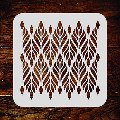 Leaf Stencil - 6.5 x 6.5 inch (S) - Reusable Allover Wallpaper Tribal Ethnic Wall Stencil Template - Use on Paper Projects Scrapbook Journal Walls Floors Fabric Furniture Glass Wood -