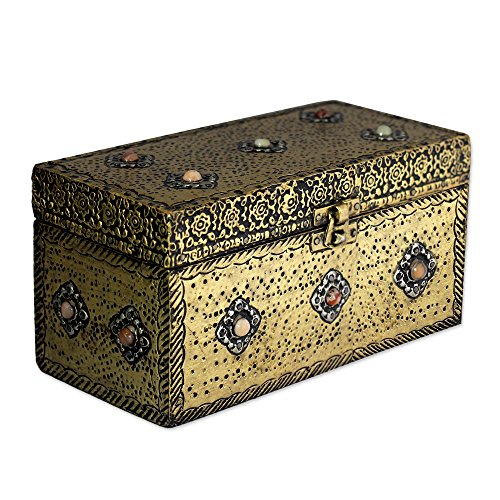 NOVICA Repousse Brass Jewelry Box, Metallic 'Mughal Treasure - Treasure Chest Brass