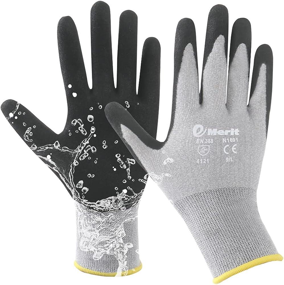 Emerit 2 Packs Bamboo Garden Gloves for Women, Nitrile Coated Working Glove for Gardening, Fishing, Clamming