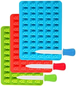 Candy Silicone Molds & Ice Cube Trays,Jelly Molds,Chocolate Molds,3 Pack Gummy Bear Molds 50 Cavities with Bonus Dropper(Blue, Green, Red)