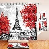 Beshowereb Bath Suit: Showercurtain Bathrug Bathtowel Handtowel oil painting paris european city landscape france wallpaper eiffel tower black white and red 533019160