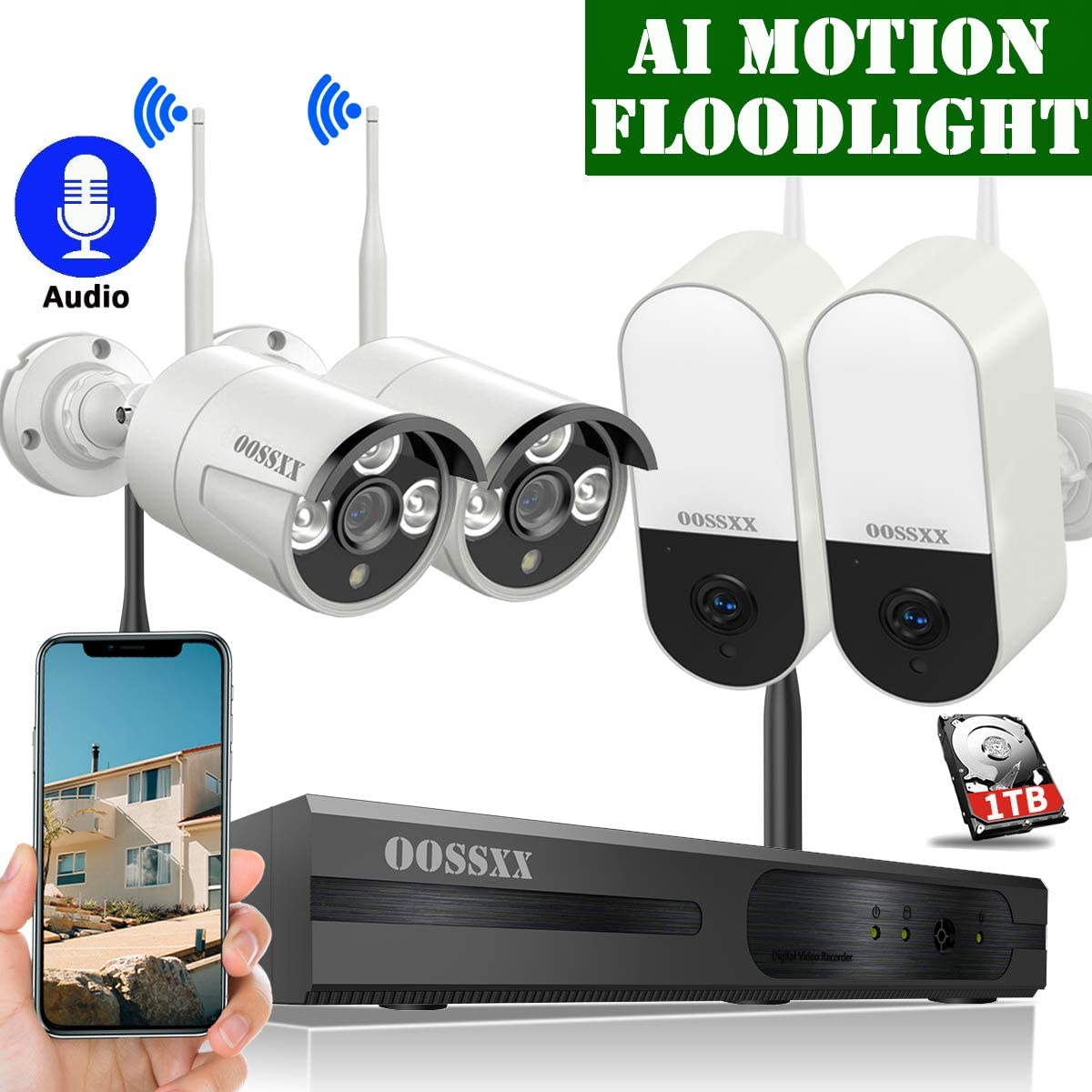 Wireless Video Security Surveillance Camera System with Hard Drive,OOSSXX 8CH HD 1080P Home NVR Kit,2Pcs Wireless Security Floodlight Cameras and 2Pcs Wireless Outdoor IP Cameras with One-Way Audio