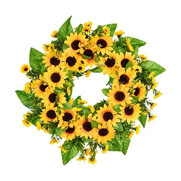 Artiflr Artificial Sunflower Summer Wreath – 18 Inch Front Door Wreath Decorative Fake Flower Wreath with Yellow Sunflower and Green Leaves for Front Door Indoor Outdoor Wall Décor
