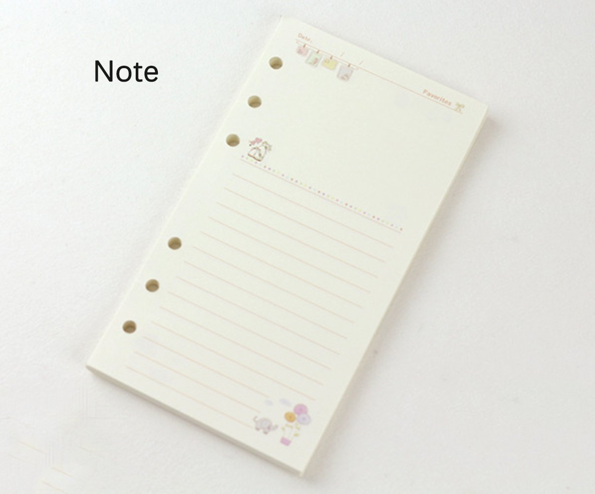 A5 Refill Paper Colorful Cartoon Paper 6 Hole A5 Day Week Month ...