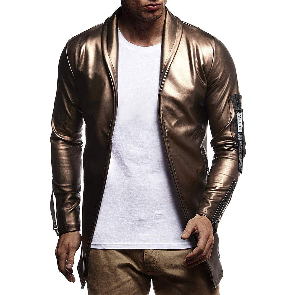 Corriere Big Promotion! Hip Hop Leather Coat Jacket for Men Fall Luxury Gold Silver Long Sleeve Outerwear Tops Corriee