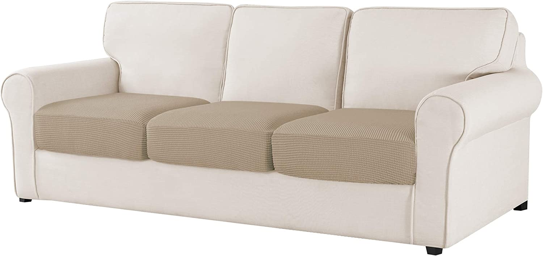 CHUN YI Jacquard Chair Cushion Covers High Stretch Loveseat Slipcover Sofa Cushion Sofa Seat Slipcovers Furniture Protector for Sofa Settee and Couch Seat Coat (3-Piece Sofa Cushion, Sand)