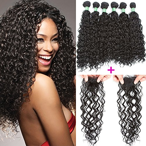(VRHOT 7pcs Set Jerry Curly Hair Bundles with Closure Synthetic Hair Extensions Wavy Braids Hair Weaves 6 Bundles with 1pc Top Closure (Jerry Curly (16