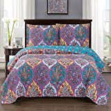 Viola Twin / Twin-Extra-Long Size, Over-Sized Coverlet 2pc set, Luxury Microfiber Printed Quilt by Royal Hotel