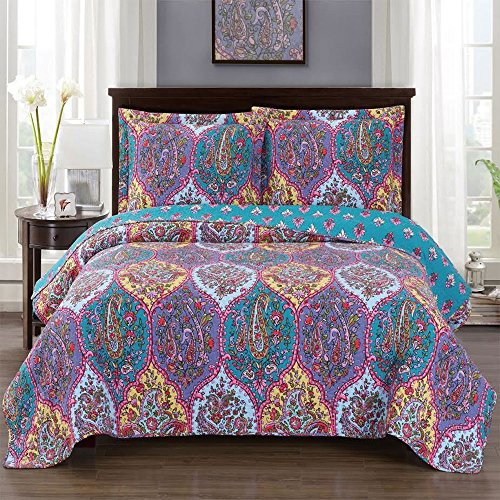 Viola King / California-King Size, Over-Sized Coverlet 3pc set, Luxury Microfiber Printed Quilt by Royal Hotel
