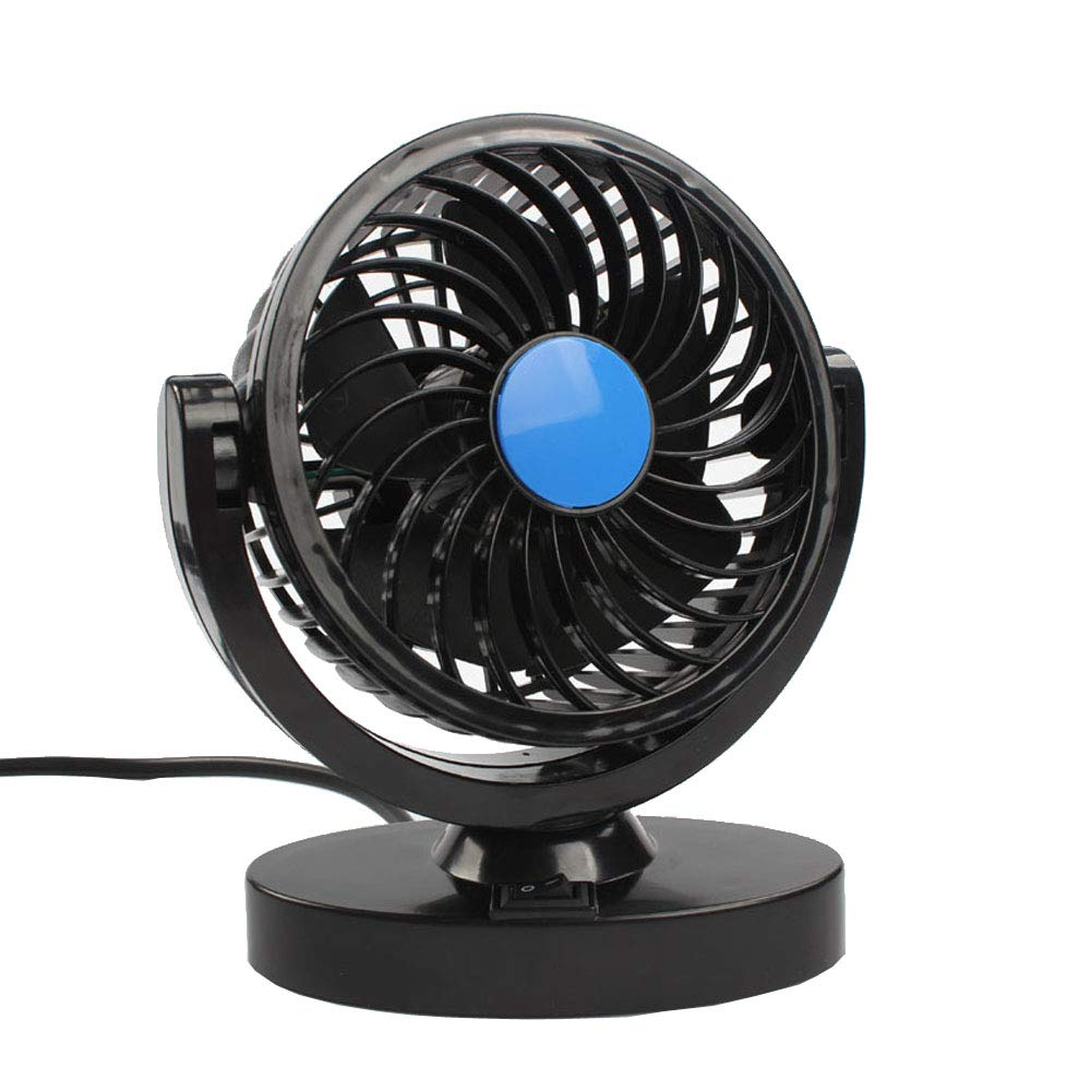 HOUTBY Electric Car Fan 12V Strong Wind Adjustable Air Cooling Fan Universal Low Noise 360 Degree Truck