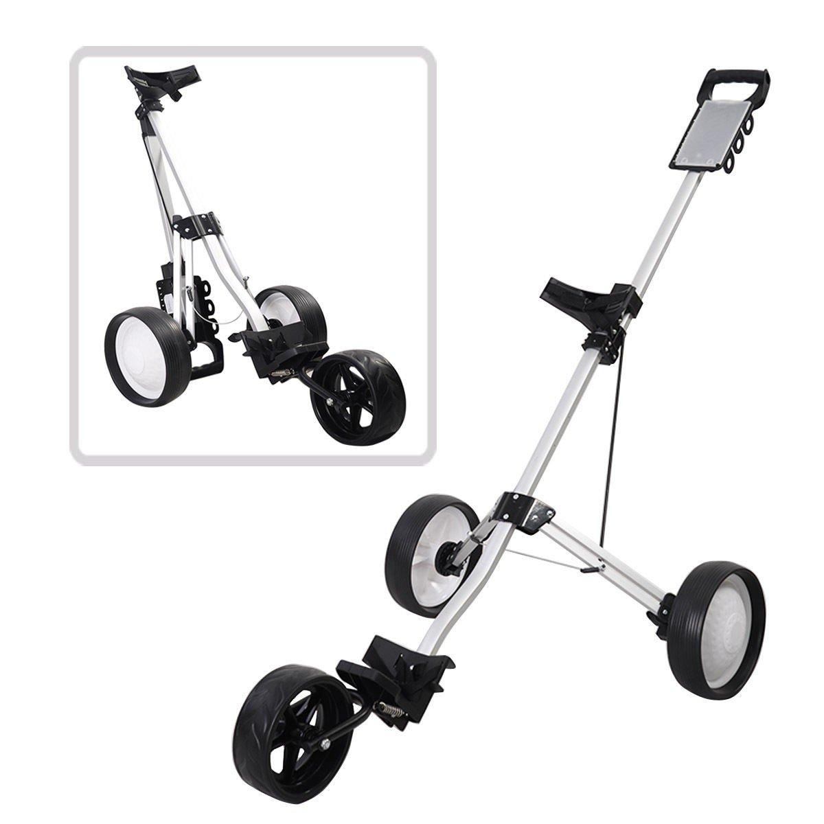 MD Group Golf Cart Push Trolley Pull Wheel Foldable Club Swivel Holder Lightweight Aluminum
