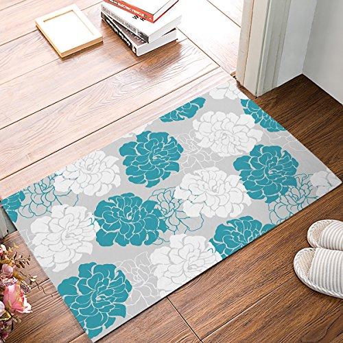 Anzona Welcome Mats, Peony Floral Pattern, Doormat Entrance Front Door Rug Indoor/Bathroom/Kitchen/Bedroom/Entryway Floor/Beach, Non-Slip Rubber, 18'' x 30''
