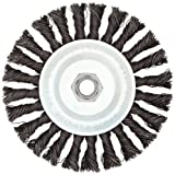 Weiler Vortec Pro Wide Face Wire Wheel Brush, Threaded Hole, Carbon Steel, Full Twist Knotted, 6'' Diameter, 0.025'' Wire Diameter, 5/8-11'' Arbor, 11000 rpm