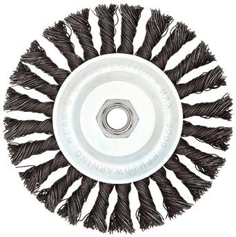 "Weiler Vortec Pro Wide Face Wire Wheel Brush, Threaded Hole, Carbon Steel, Full Twist Knotted, 6"" Diameter, 0.025"" Wire Diameter, 5/8-11"" Arbor, 11000 rpm"