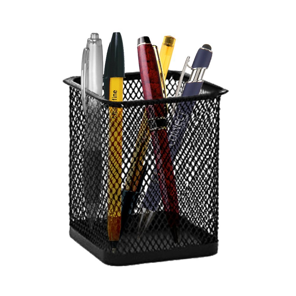 Amazon.com : Black Mesh 2 Pcs Square Pencil Cup Holder Desk ...