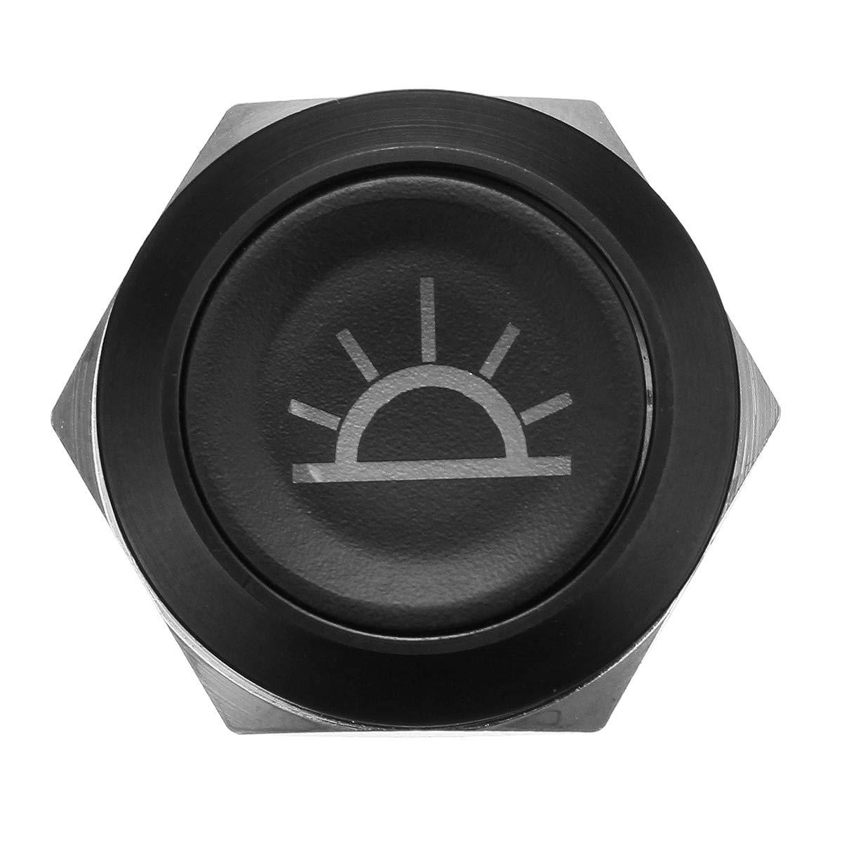 Blanc ChaRLes 19mm Bouton-Poussoir Commutateur 12V LED Self Lock Interrupteur Ip65 /Étanche En M/étal Interrupteur Marche-Arr/êt