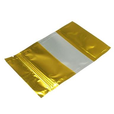 MJJEsports 100Pcs Oro Hoja De Aluminio Stand Up Bolsas Zip ...