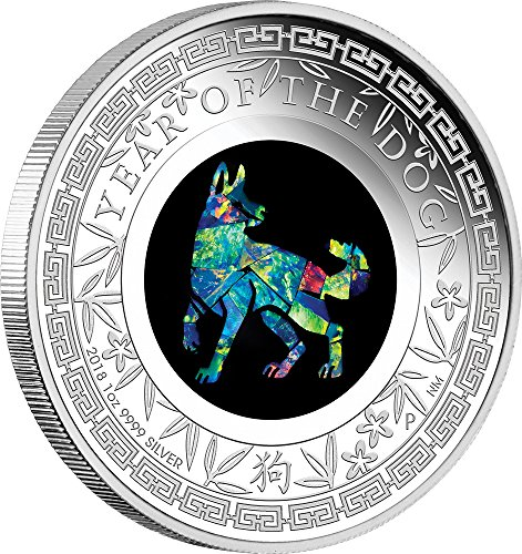 2018 AU Australian Lunar Opal YEAR OF THE DOG Australian Opal 1 Oz Silver Coin 1$ Australia 2018 Proof