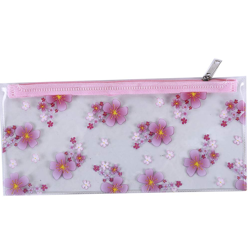 DearAnswer Cherry Blossoms Transparent Pencil Case PVC Waterproof Stationery Storage Bag Zipper Cosmetic Pouch for Ladies,2#