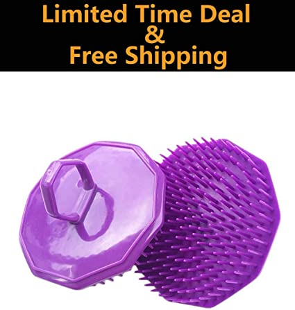 Hair Scalp Massager Shampoo Brush,EWAYY Dandruff Brush Scalp Massage Brush Silicon Scalp Massager Scalp Care Brush Scalp Scrubber With Soft Silicone Purple