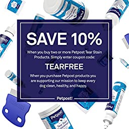 Petpost | Tear Stain Remover Wipes - 100 Presoaked Cotton Pads - Best Natural Eye Crust Treatment for White Fur - Maltese Angels Approved - Chemical and Bleach Free - 4 Oz. (100 ct.)
