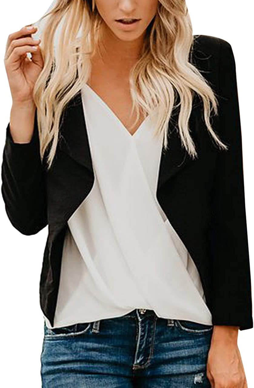 RISTHY Blazer Mangas Largas para Mujer Trajes Chaqueta Abrigo de Oficina Delgado Color S/ólido Tallas Grandes Cardigan Corto Casual Traje de Chaqueta Negocio Solapa Blusa Tops