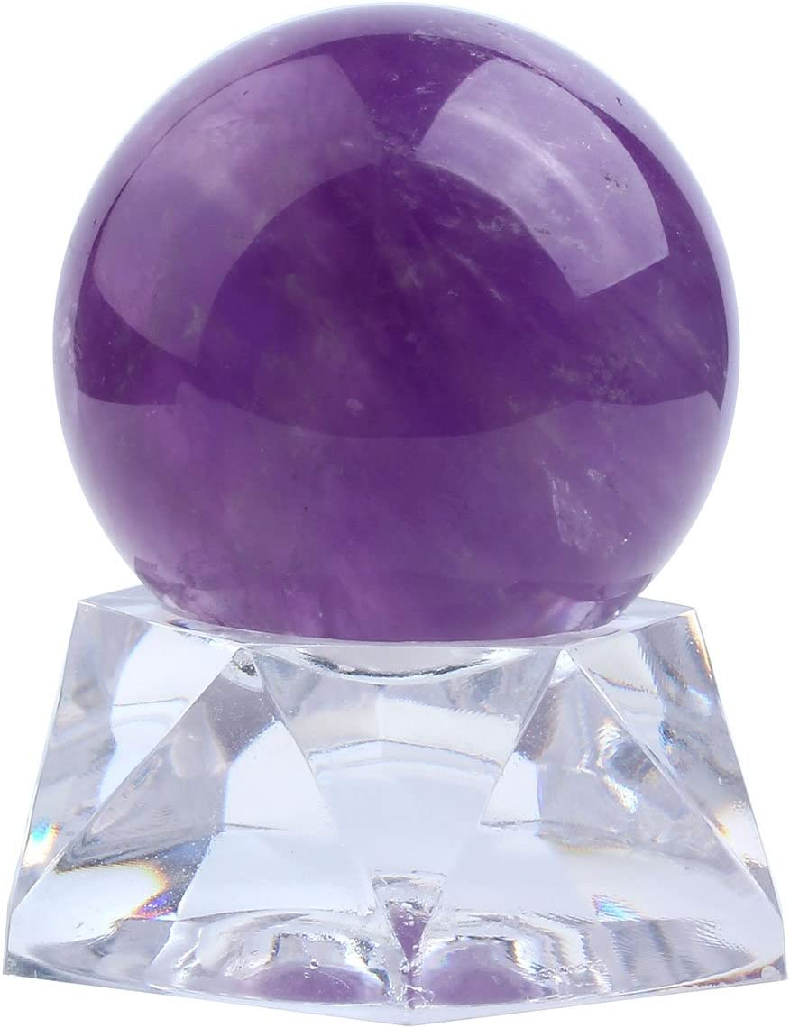 Jovivi 35mm Natural Amethyst Healing Crystal Gemstone Ball Divination Sphere Sculpture Figurine with Acrylic Stand Feng Shui Chakra Aura Home Desk Decor