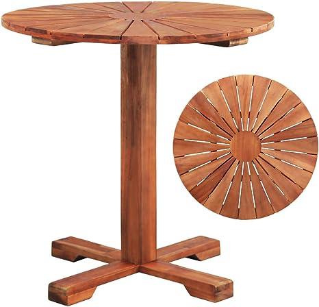 Tidyard Table De Bar Rond Table Exterieur En Bois Table Sur Pied