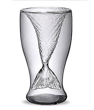 Indeedshare Doppelwandiges Borosilikatglas Mermaid Tail Glas Weingläser Cocktailgläser Weinglas Becher Bierglas (3,5 oz 100 ml)