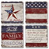 Absorbent Coasters Set of 4 Made in USA - Faith, Family & Freedom American Flag