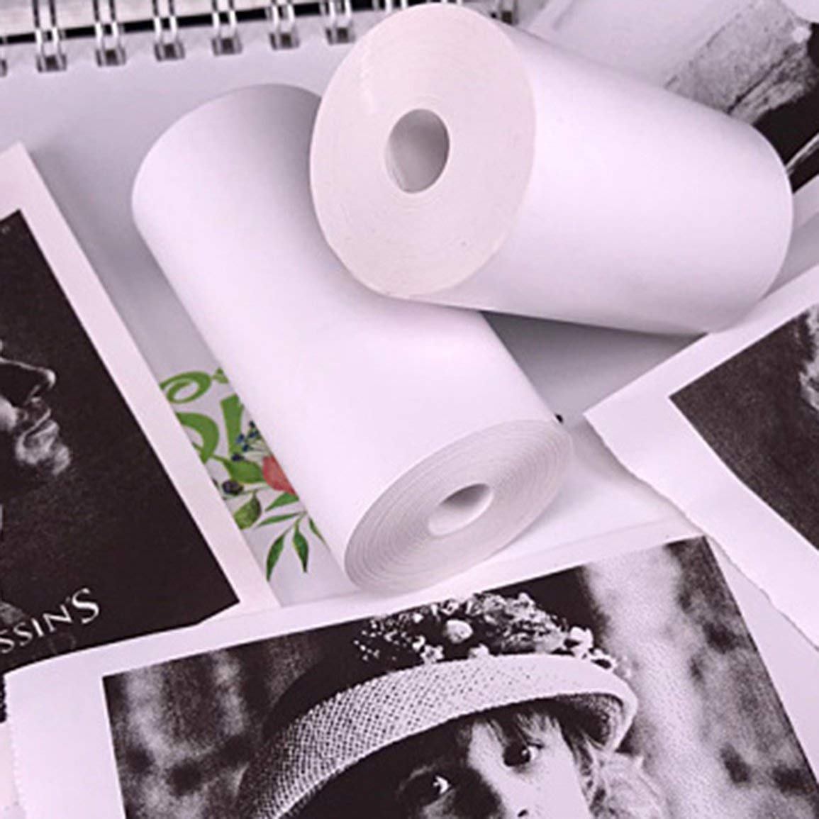 Couleur: blanc 5 rouleaux de papier autocollant papier thermique direct 57x30mm pour imprimante de poche portable PAPERANG