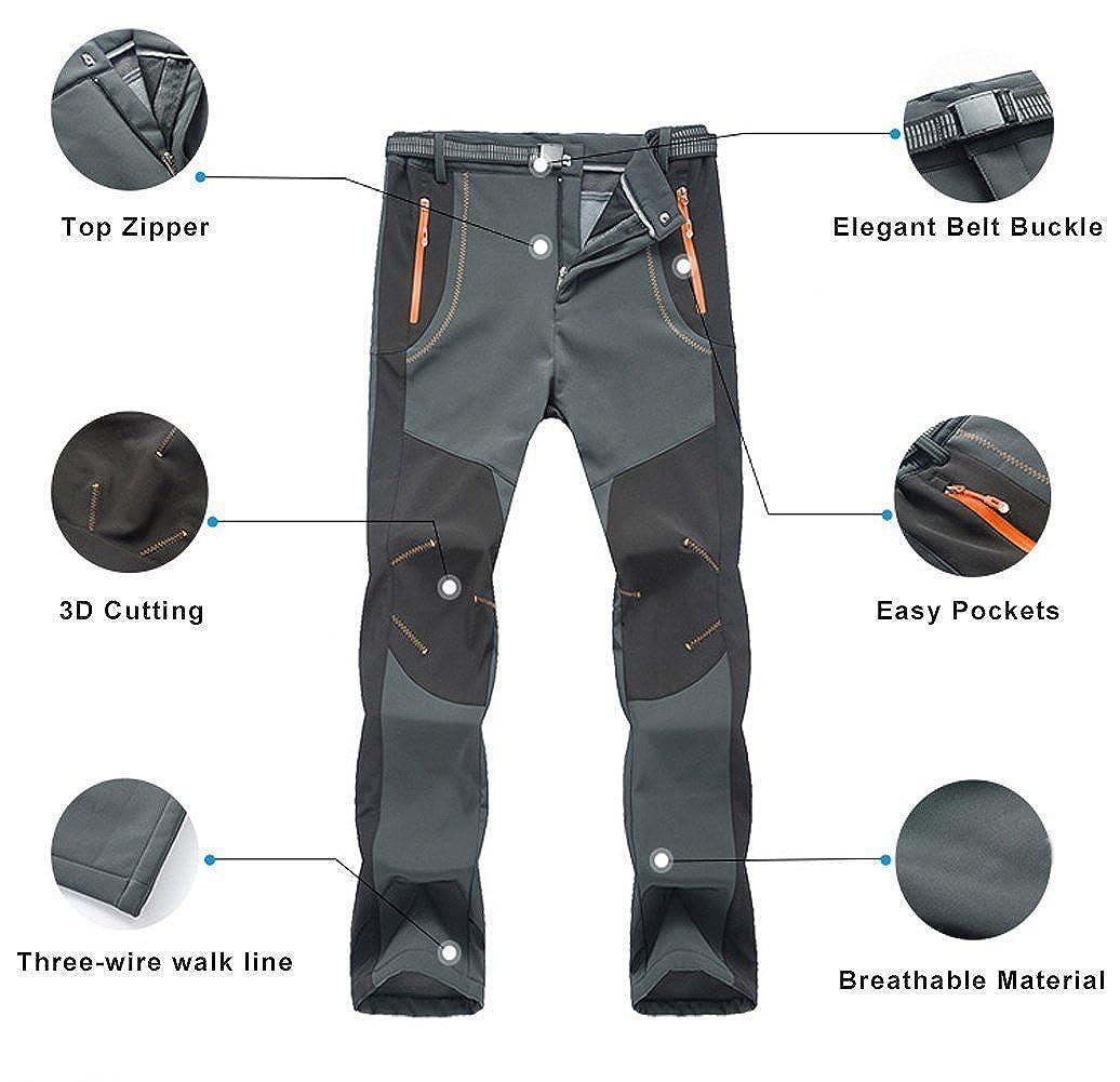 TBMPOY Mens Winter Waterproof Softshell Fleece Lined Hiking Mountain Pants with Belt Grey