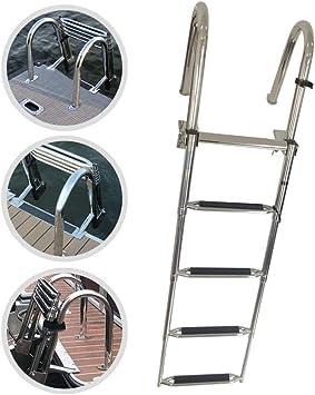 SUBBYE Escaleras para Barcos Escalera de Barco Marino de 4 Pasos, Plegable Extensible de Acero Inoxidable Escalera de Embarque de Pontón, para Cubierta Yate Marino Piscina, 350 Libras de Capacidad: Amazon.es: Deportes