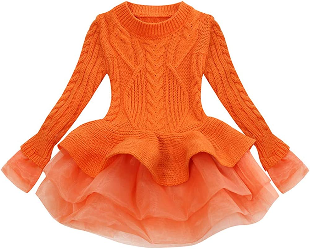 Orange, 130 ADO Stap Big Girls Kids Costumes Little Long Sleeve Winter Sweater Dress Up Solid Sweaters Outwear Long Sleeve Dresses Pullover Size 5T 6T Clothes Clothing Fashion