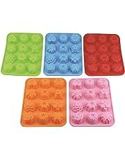 (5unidades) de 12Cavidad Flores de silicona jabón molde cake pan Mold Chocolate Jelly Candy molde–5colores (rosa, azul, naranja, verde, rojo)