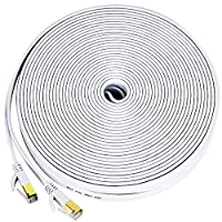 Cat 7 ethernet cable flat, 100 ft Extra Long Fast Internet Patch Cord,Faster than Cat6 Cat6a Cat5-10Gbps/600MHz?Shielded Rj45 snagless connectors for Xbox 360,PS4,Patch panel,Adapter-Black(30M)