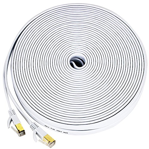 Cat 7 ethernet cable, [100 Feet] Wireless Outdoor Networking Patch cable with clips,Supports Cat6/Cat6a/Cat5 with Gold Plated RJ45 Connectors for Gaming,MAC,Desktop,ADSL,LAN-White(30 Meters)