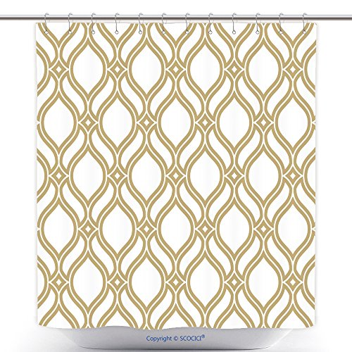 Kmart Polyester Shower Curtain (vanfan-Durable Shower Curtains Abstract Pattern In Arabian Style Seamless Vector Background Gold And White Texture Graphic Polyester Bathroom Shower Curtain Set With Hooks(72 x 108 inches))