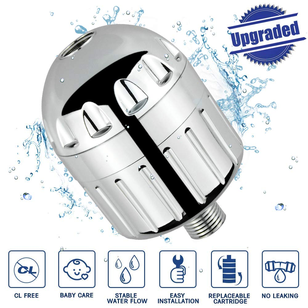 High Output Universal Shower Head Water Filter Removes Chlorine Heavy Metal Softens Hard Water Fits Any Shower Head WaterQueen Shower Filter