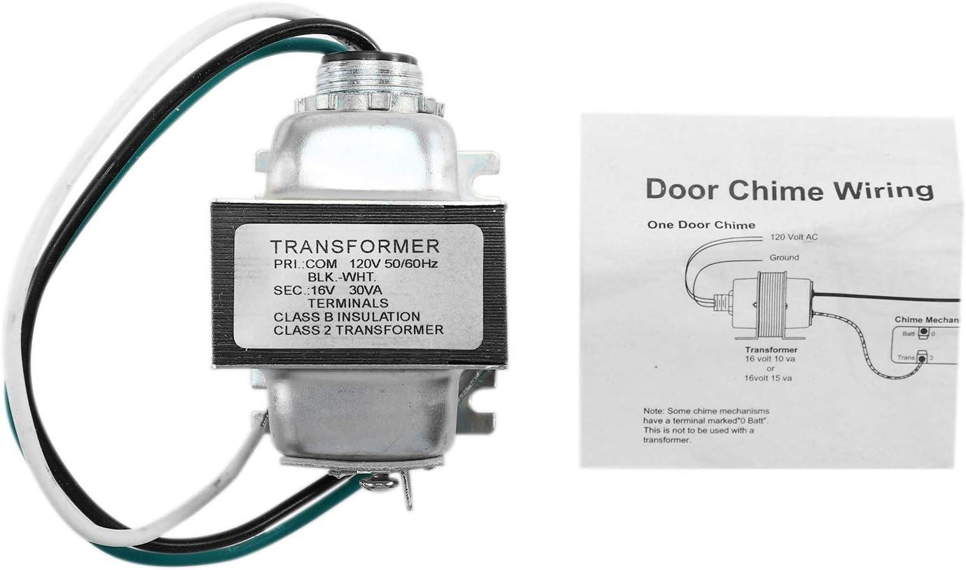 Transformador de Campana de Puerta Cableada de 16V 30VA Nrpfell Transformador de Timbre de Metal para Ring Nest Video Doorbell Pro