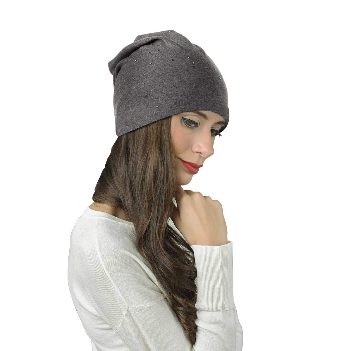 Elastic Long Slouch Beanie Bleswin Unisex Slouchy Beanie with Rhinestones Cotton Soft Beanie For Both Men and Women Warm Lightweight for Summer and Winter